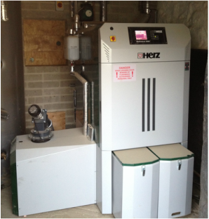 Our Austrian Biomass Boiler and pellet store.